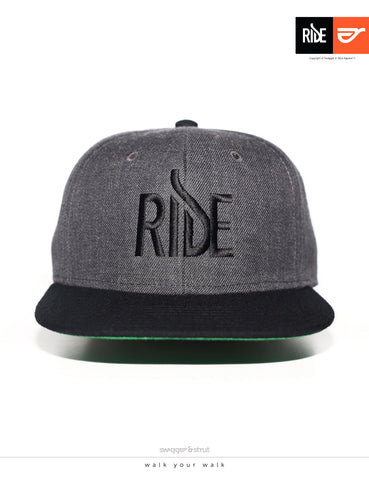 RIDE Logo Snapback - Dark Grey & Black