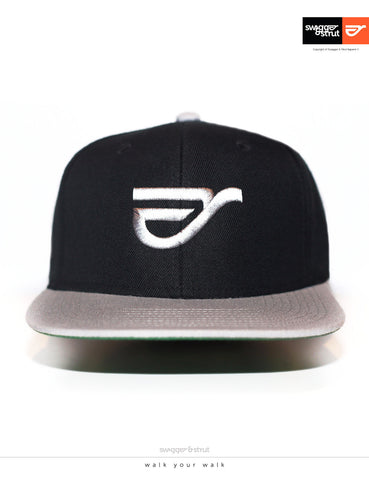 Swagger & Strut Logo Snapback - Black & Light Grey