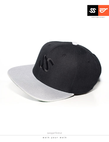 SS Logo Snapback - Black & Light Grey