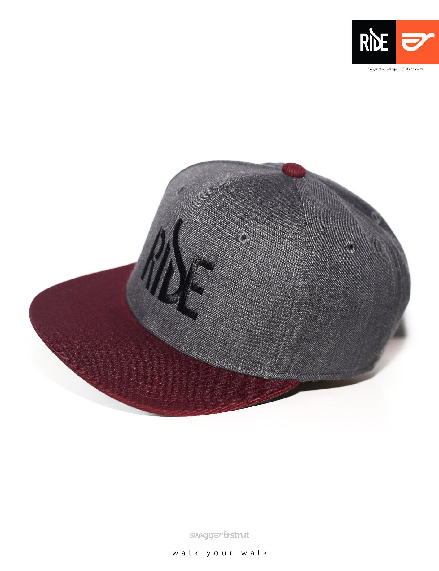 RIDE Logo Snapback - Dark Grey & Burgundy