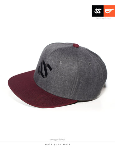 SS Logo Snapback - Dark Grey & Burgundy