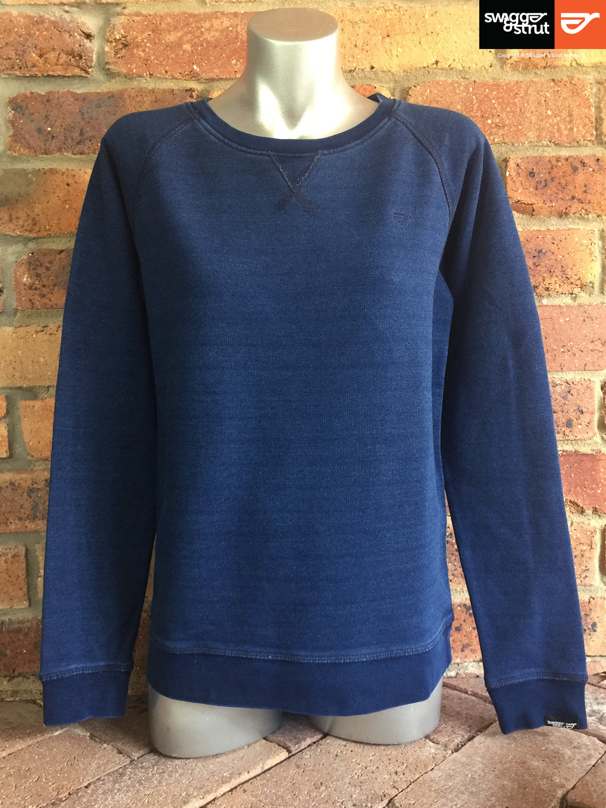 Mid Washed Indigo - Female Organic Denim Crew Neck Sweatshirt