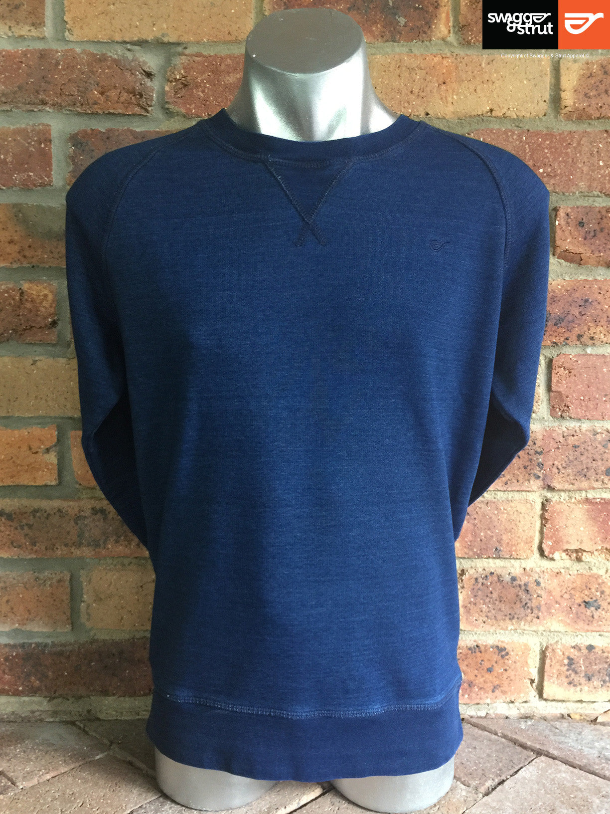 Mid Washed Indigo - Male Organic Denim Crew Neck Sweatshirt