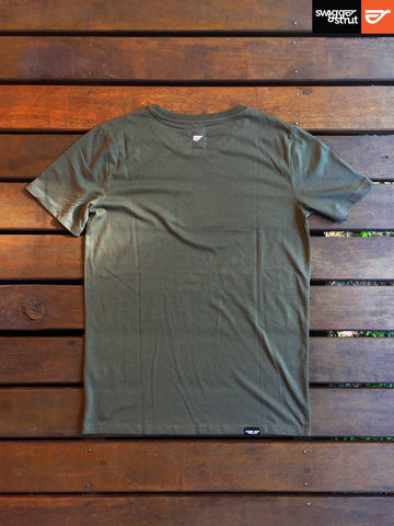 Khaki - Male 100% Organic Round Neck T-Shirt