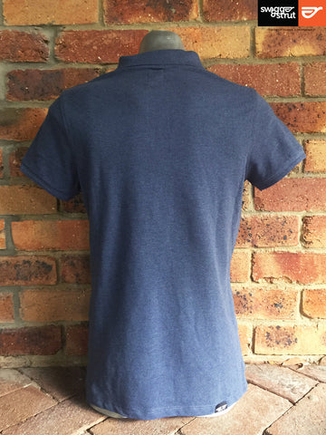 Dark Heather Blue - Male 100% Organic Pique Polo
