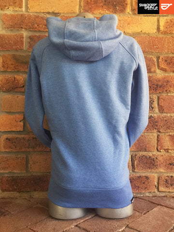 Mid Heather Blue - Female Organic Raglan Sleeve Hoodie Walk Your Walk