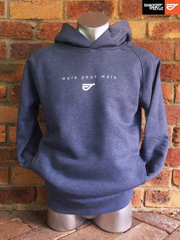 Dark Heather Blue - Male Organic Raglan Sleeve Hoodie