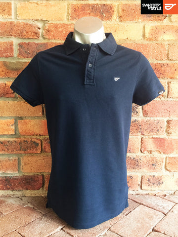 Navy - Male 100% Organic Pique Polo