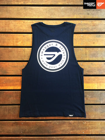 Navy - Male Regular Fit, Sleeveless Tank