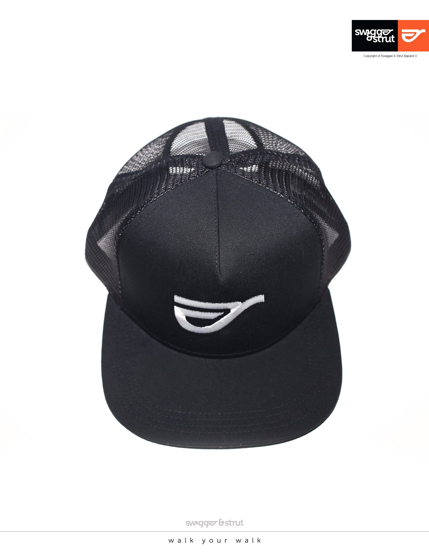 Black Trucker Cap by Swagger and Strut
