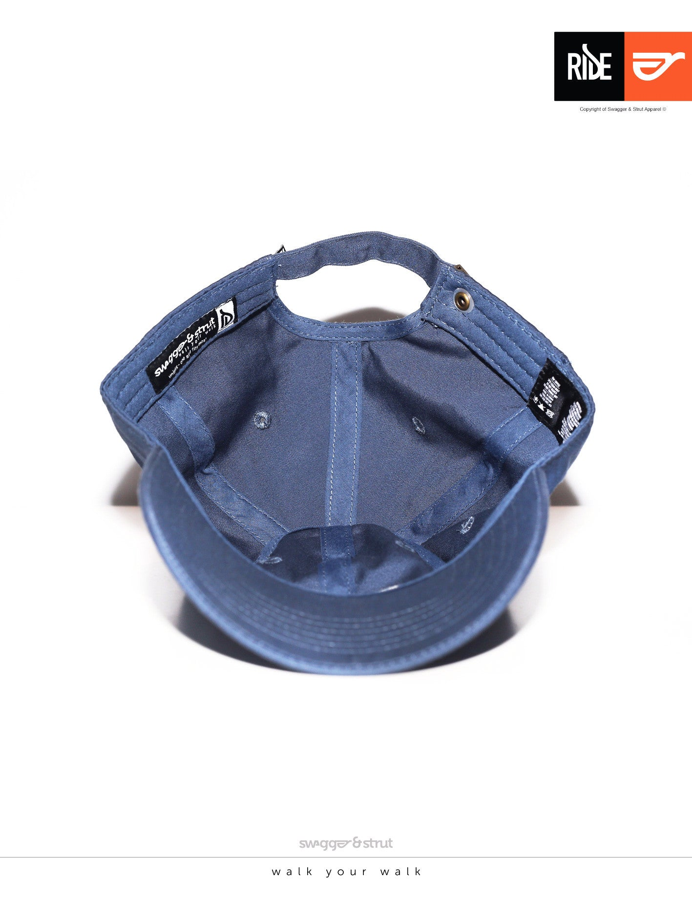 RIDE Logo DAVIE SIX PANEL CAP - Blue