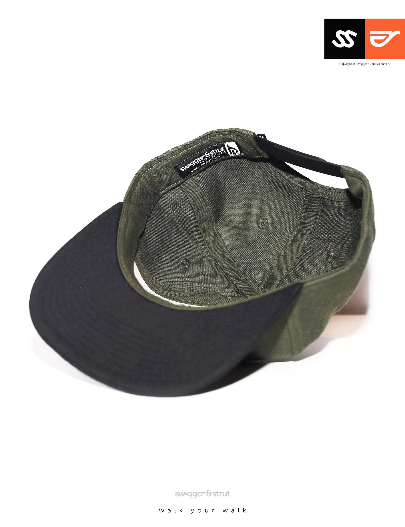 SS Logo Snapback - Army Green & Black