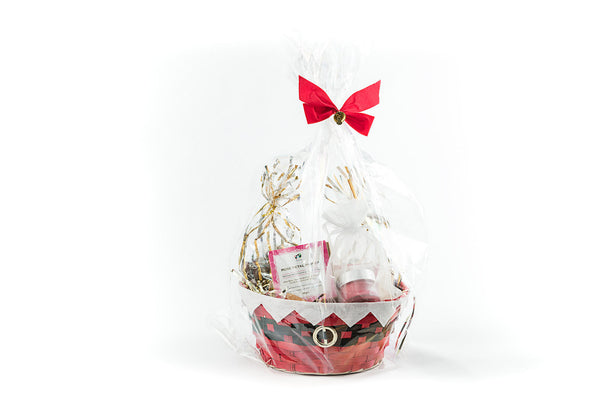 Bliss Gift Basket - Soy Wax Candle, Bath Bombs and Chocolate Almonds