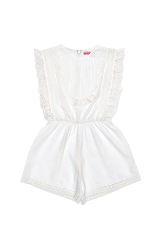 Kallisto Playsuit Coral with Wildflower Embroidery