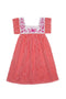 Allegra Dress Paprika Stripe with Hand Emboidery