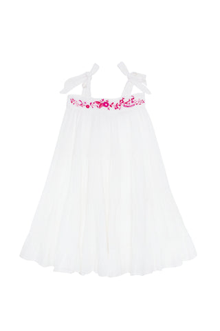 April Dress Gardenia with Hand Embroidery