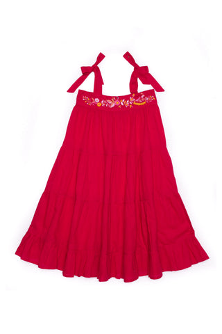April Dress Ruby with Hand Embroidery