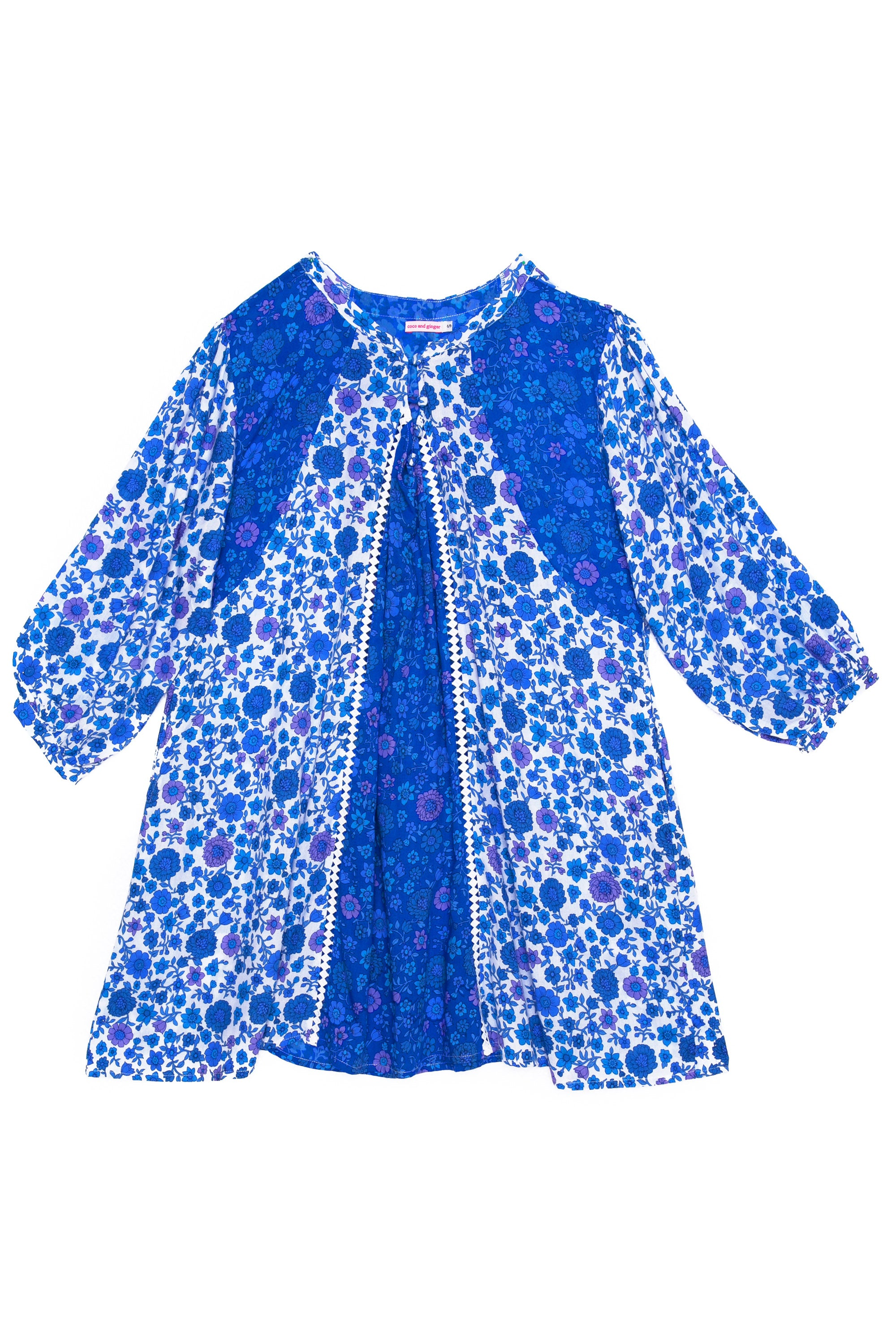 Athena Dress Blue Dahlia Patchwork and Lace (Tween/Teen)