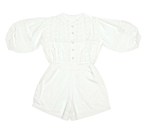 Magnolia Linen Playsuit Lapis w/ Bird Embroidery