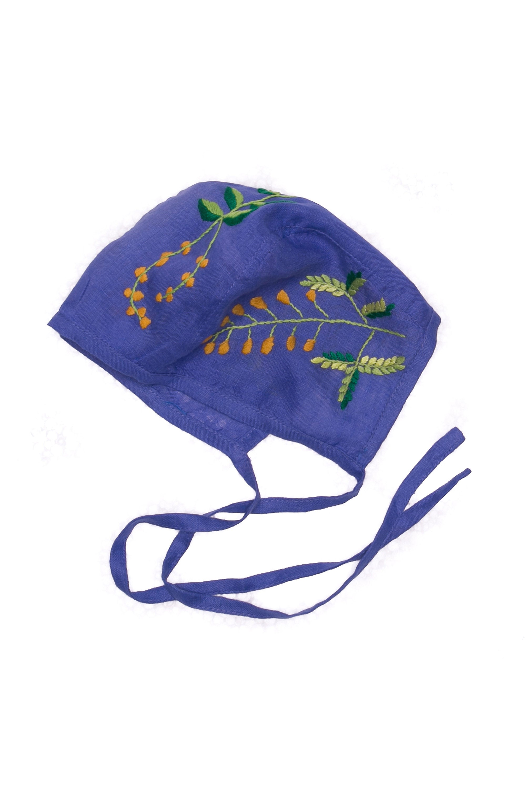 Bonnet Linen Sapphire with Hand Embroidery