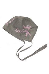 Bonnet Linen Sage with Hand Embroidery
