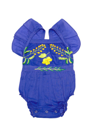 Hibiscus Sunsuit Midnight with Peacock Embroidery