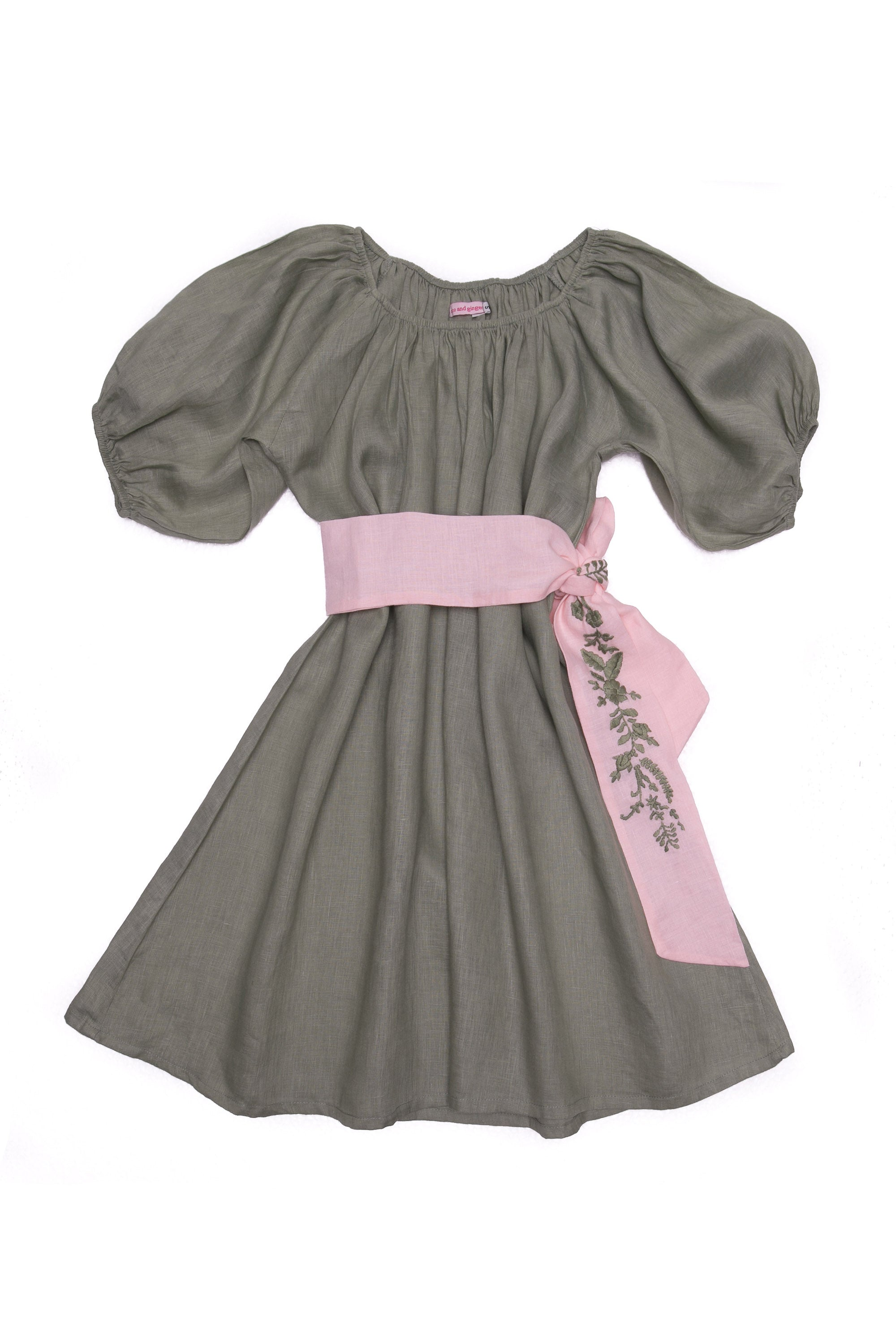 Hera Dress Linen Sage and Bellini Belt (Tween/Teen)