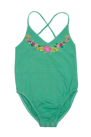 Honey Leotard Emerald with Hand Embroidery