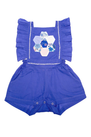 Kallisto Sunsuit Sapphire with Patchwork and Hand Stitch