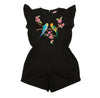Magnolia Playsuit Black w/ Bird Embroidery