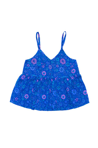 Athena Dress Blue Dahlia Patch and Lace