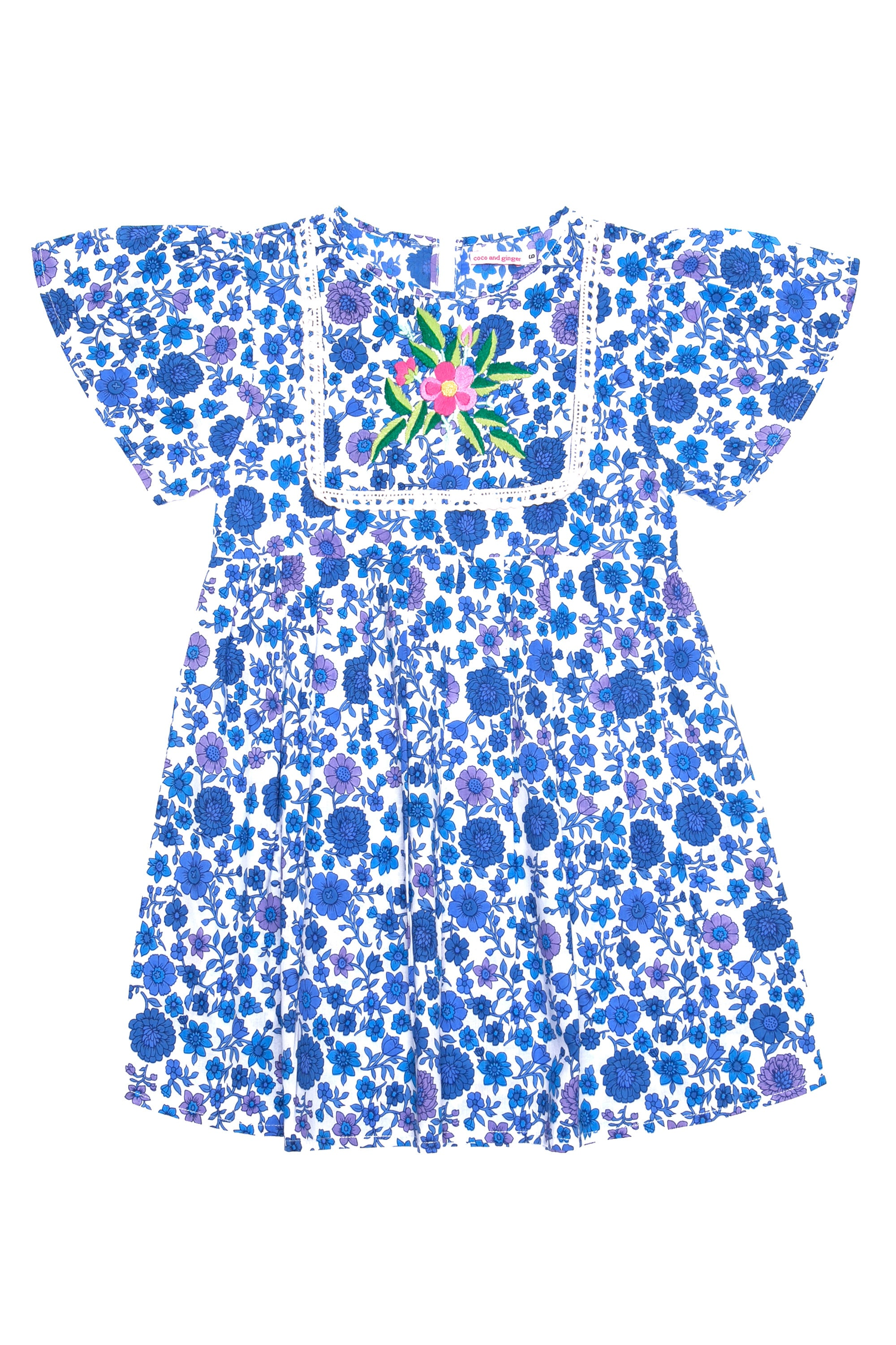 Venus Dress Indigo Dahlia with Embroidery