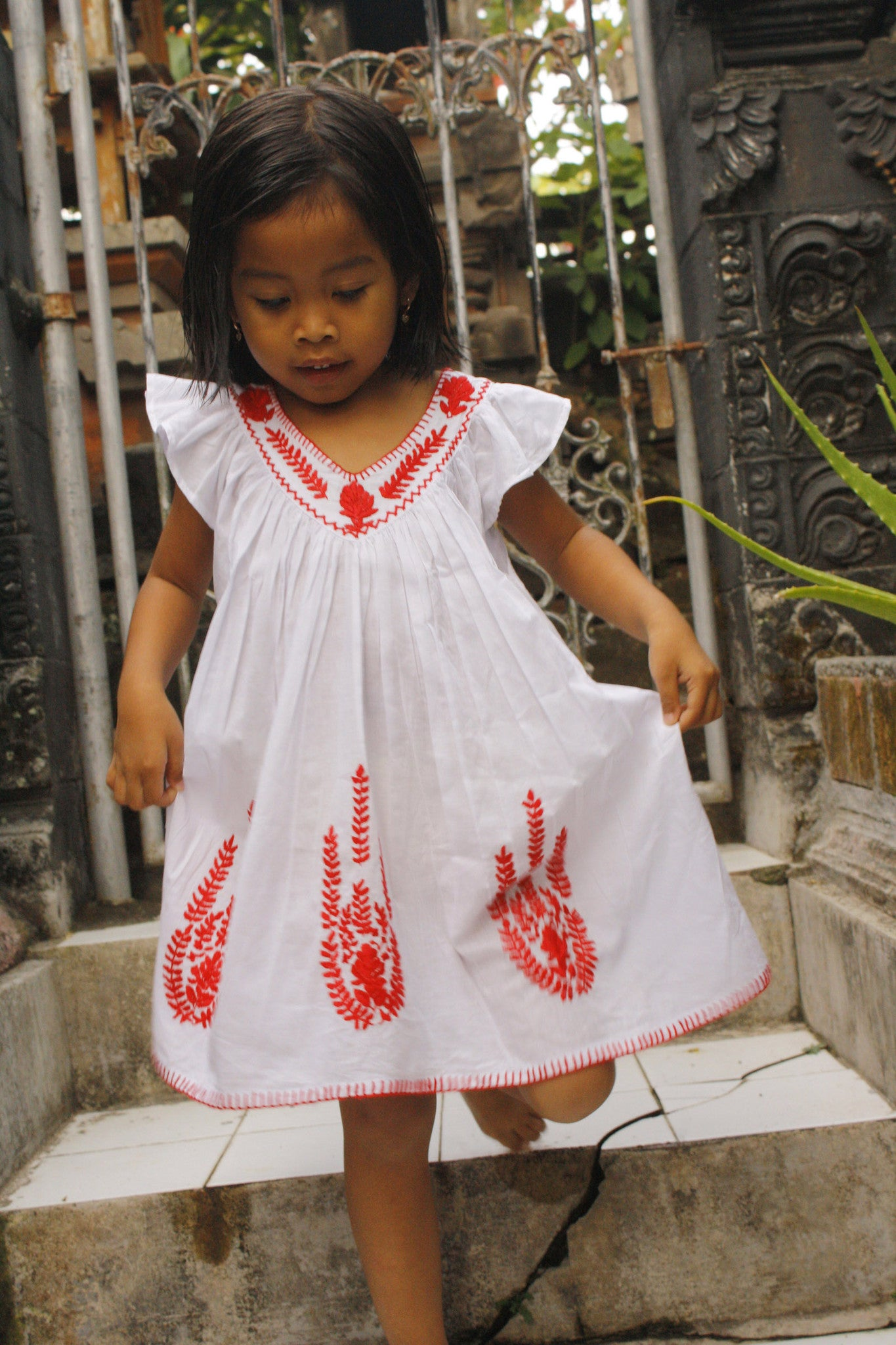 Daphne Dress White with Red Hand Stitch