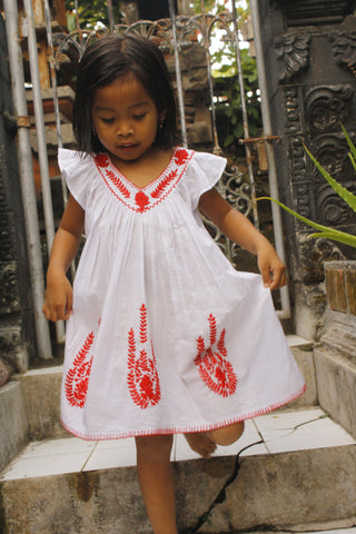 Daphnee Dress White with Red Hand Stitch