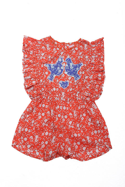 Delphine Playsuit Coral Whisper with Applique