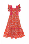 Lilas Dress Coral Whisper with Hand Stitch