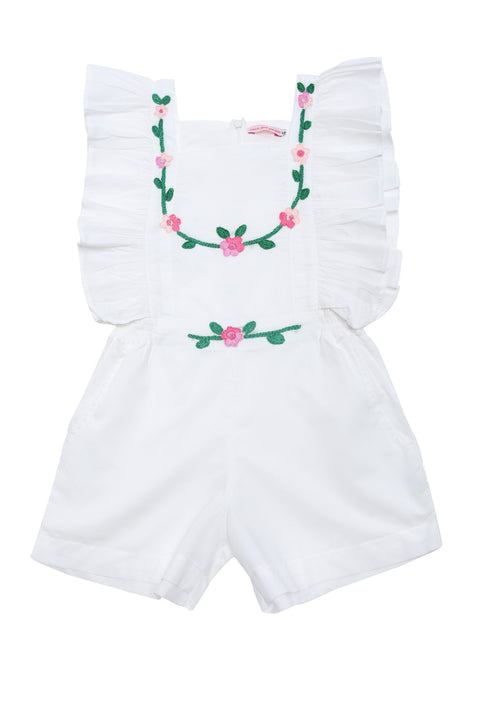 Tulip Playsuit Eggshell with Hand Stitch