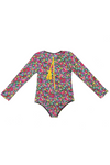 One Pc Rash Vest 70' Flower Maroon