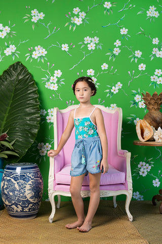 Lyric Leotard Sea Glass Almond Blossom