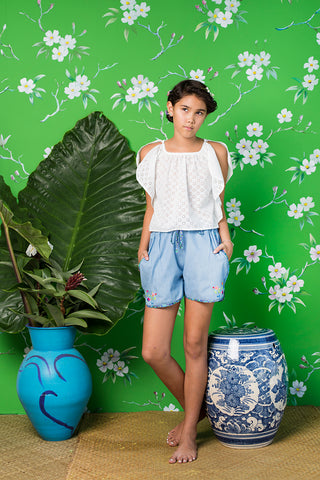 sailor short denim with hand stitch (teen)