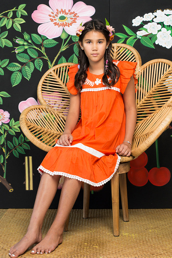Iris Dress Paprika with Hand Stitch (Tween/Teen)