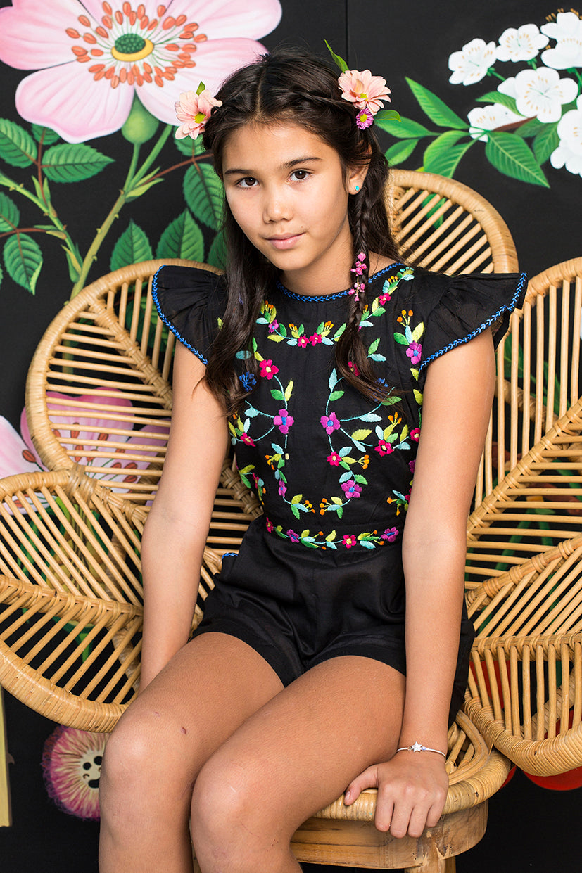 magnolia playsuit black with hand stitch (Tween/Teen)