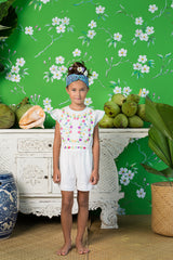 magnolia playsuit eggshell with colour hand stitch