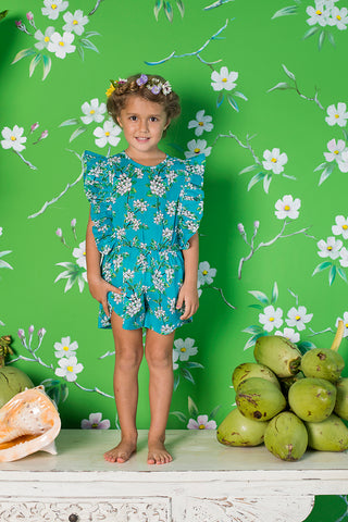 delphine playsuit sea glass almond blossom