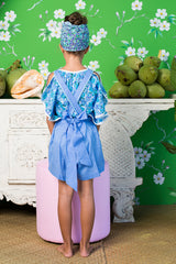 pomme playsuit periwinkle with colour hand stitch