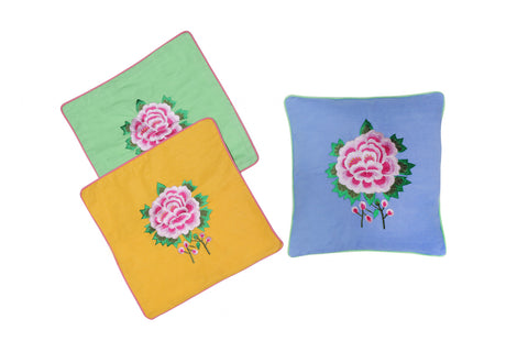 Cushion Cover  45 x 45 - Saffron with Rose Embroidery