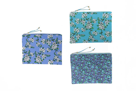 Beach Clutch - Periwinkle Almond Blossom