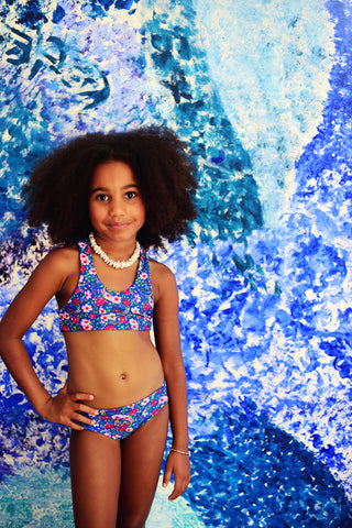 Bikini Set Azure Indian Flowers