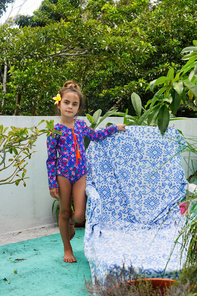 One Pc Rash Vest Azure Indian Flowers