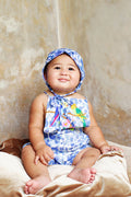 Melati Sunsuit China Dahlia with Bird Embroidery
